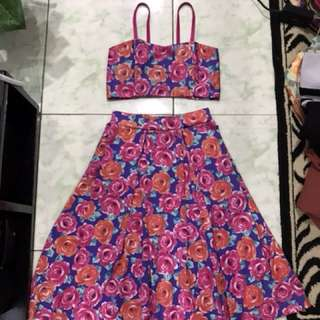 Repriced!! Brand New!! Caged back/ backless 2pc floral coords/ coordinates/ terno/ match/ pair/ set