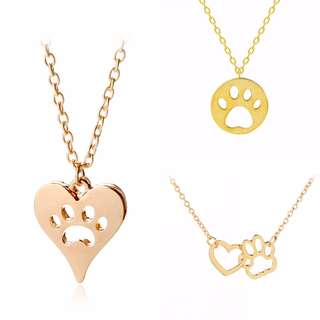 Heart Round Pawprint Dog Pendant Necklace Set of 3