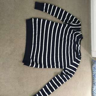 Navy strip light knit