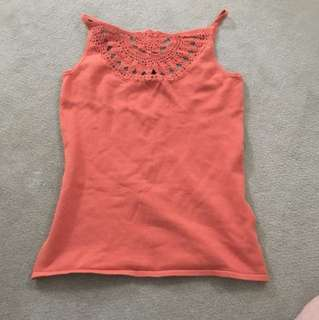 Crochet detail orange singlet