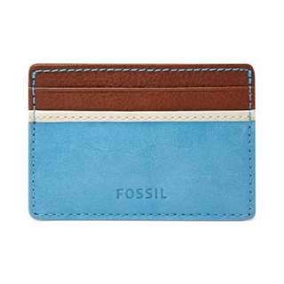 Fossil magic wallet blue brown red real lether card holder
