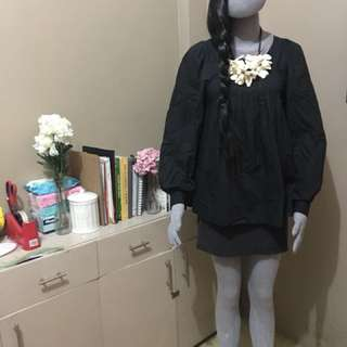 MARNI long sleeve pockets dress (black-grey combo)