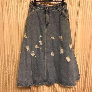 🔥出清🔥MOCA KOREA 韓國 🇰🇷 高磅數過膝牛仔裙