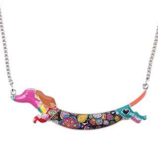 Dachshund Dog Multicolor Choker Necklace