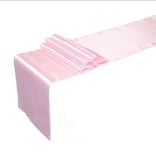Party pink satin table runner 30×250cm