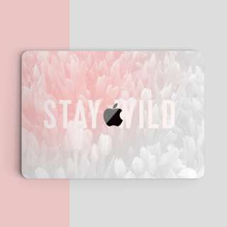 Abstract White Pink Floral Stay Wild Tumblr Quote Macbook Vinyl Decal