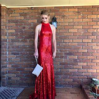 Hiring red formal dress