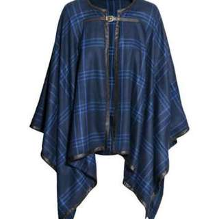 H&M woven tartan blue cape jacket  w/ metal buckle