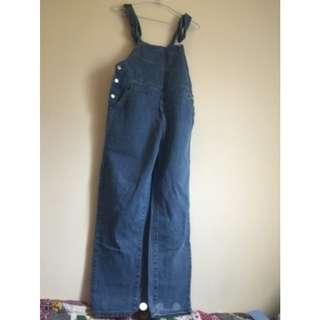 吊帶褲-湛藍海洋藍色牛仔布