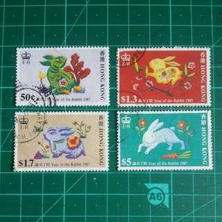 1987 生肖兔年 舊票一套