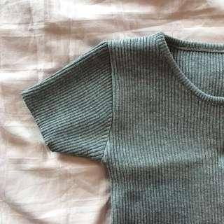 Ribbed Gray Crop Top