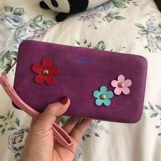 Purple floral compact wallet