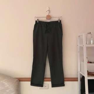 Starmimi 修身綁帶直筒西裝褲(墨綠)