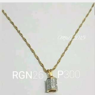 RGN26 Thai Gold Plate Necklace with Barrel Rhodium Pendant