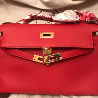 Hermes 5E red mini Kelly 金扣 minikelly