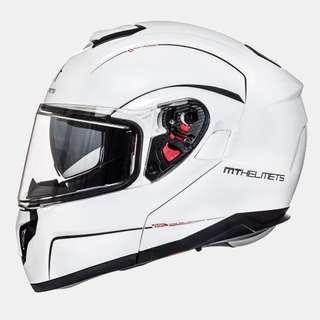 MT-Helmets Atom Flip Up Helmet - Gloss Pearl White