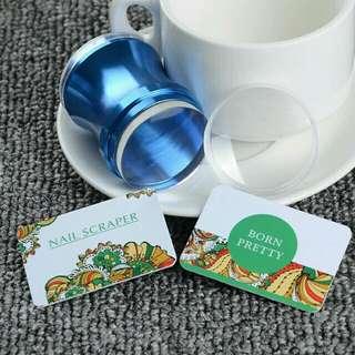3Pcs/set Blue Metal Nail Art Stamper Clear Jelly Silicone Head Stamper with Cap & 2 Scraper