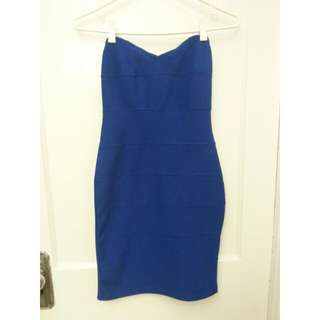 Royal Blue Strapless Bodycon Dress