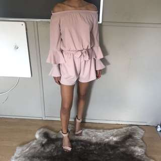 Baby pink off the shoulder playsuit