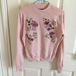 Pink flower embroidered long sleeve