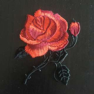 Rose Iron on Patch, Iron on Patch, Embroidered Sew on Patch, Cool & Trendy Patch, Red Rose Patch, Flower Clothing Sticker, Rose Clothing  Ask a question