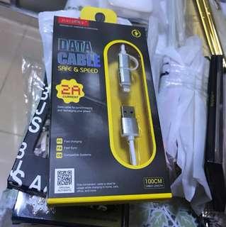 2A iphone samsung二合一手機充電線叉電線快充快叉1m