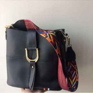 Miniso Pattern Strap Bag Free Pouch