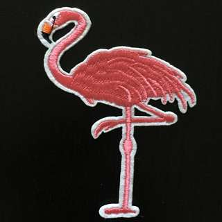 Pink Flamingo Iron on Patch, Embroidered Sew on Patch, Embroidered Patch, Cool & Trendy Patch, Flamingo Patch, Flamingo Clothing Sticker