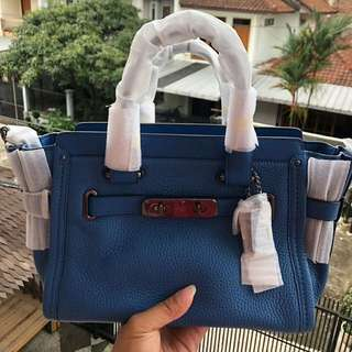Coach Swagger 27 Blue Lapis Pebble Leather