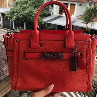Coach Swagger 27 Red Pebble Leather