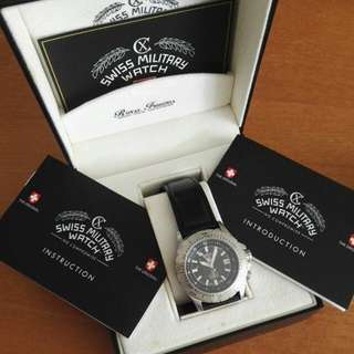 Swiss Military Watch Navy Handmade Leather