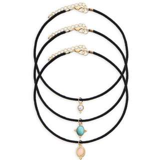 Set Of 3 Choker Black Suede Necklace With 3 Gemstone Gold Pendants Turquoise, Rose Quartz and Howlite.