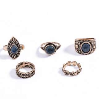 Gold Rings With Dark Blue Stones - Antique Look