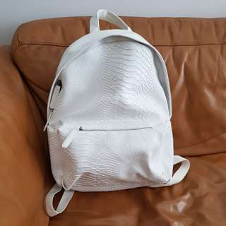 Zara Men White Snakeskin Backpack