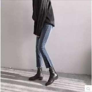 🚚 (全新)-韓國ulzzang女褲拼色緊身小直筒修身顯瘦八九分微喇叭牛仔褲