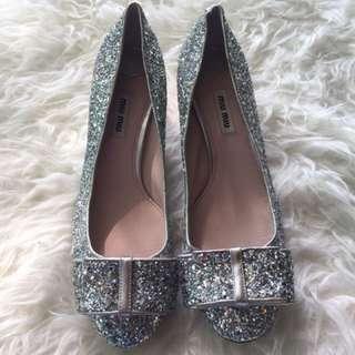 New miu miu silver glittered heels 38.5