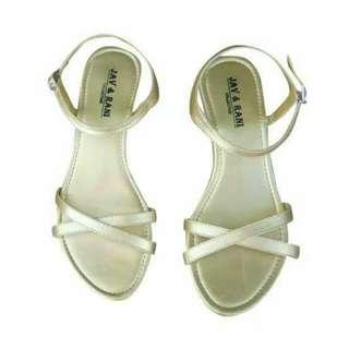 Sepatu sendal flat shoes gold