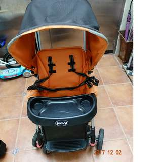 二手 joovy 雙人推車 joovy Caboose Ultralight Graphite 六七成新