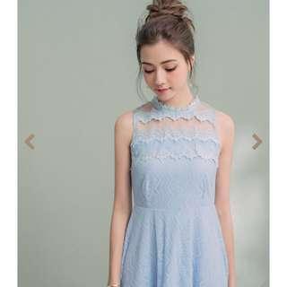 水藍色無袖洋裝 婚宴 禮服