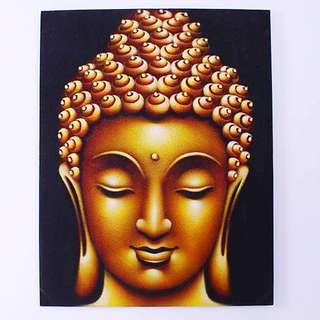 Balinese Oil Painting - Gold Buddha Head