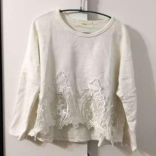 秋冬 白色 蕾絲 半透 上衣