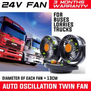 READY STOCK! 3 MONTHS WARRANTY! AUTO OSCILLATION 12V/24V TWIN HEAD XL SIZE TURBINE FAN. BUS FAN TRUCK FAN. TIPPER TRUCK FAN. ISUZU LORRY. VOLVO SCANIA TRUCKS