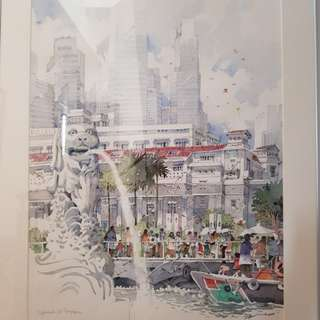 Watercolor painting of Esplanade Singapore