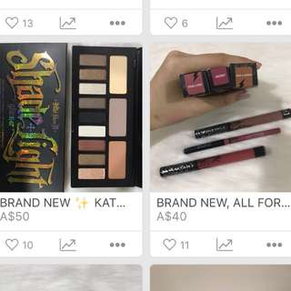 $50 for everything ✨ Kat Von D Glimmer Eye Palette + 3 Lippies Bundle ✨