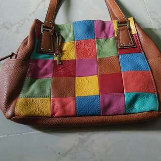 Fossil multicolored leather bag