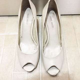 Nine west white leather wedges heels shoes