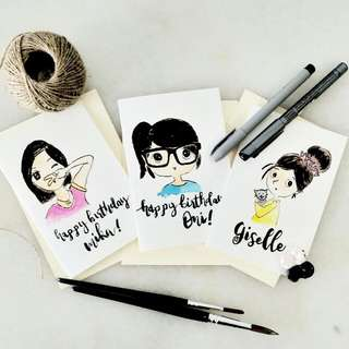 Customized Portrait Doodle Calligraphy Card