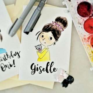 Customized Doodle Portrait With Brush Calligraphy