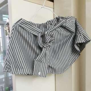 直條紋 褲裙 白灰#清衣櫃行動(含運)(不換物)