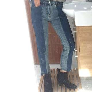 BRAND NEW Two Tone Denim Jeans Block Stripe Panel